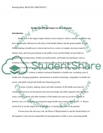 Health Care Bill and Impact on the Community essay example