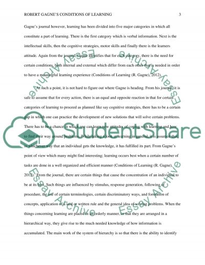 Robert Gagnes Conditions of Learning essay example