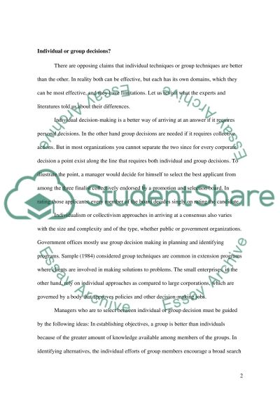 Human Resources Decision Making essay example
