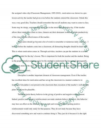Classroom Management essay example