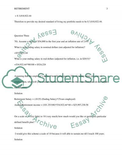 RETIREMENT ASSIGNMENT essay example