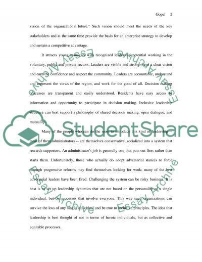 Inclusive leadership essay example