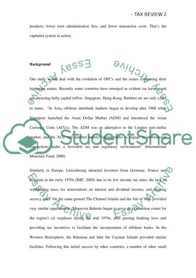 Tax Havens as a form of tax evasion essay example