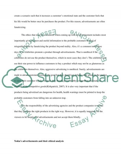 Business Ethics Advertising essay example