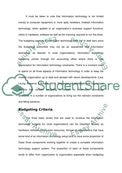 organizational information technology budgeting criteria and  organizational information technology budgeting criteria and solutions essay example
