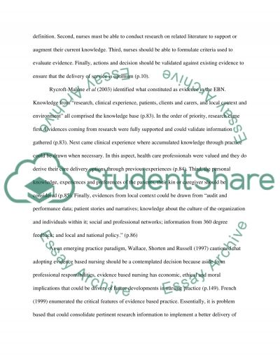 Nursing Evidence Based Practice Essay example