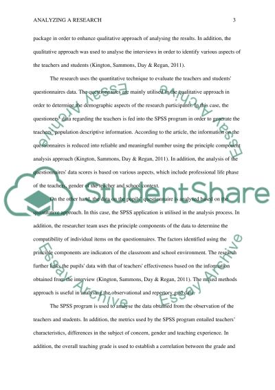 Analyzing a research essay example