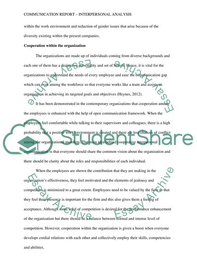 Communication report (interpersonal analysis paper)