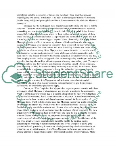 Myspace.com essay example