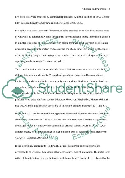 CHILDREN AND THE MEDIA - media literacy essay example