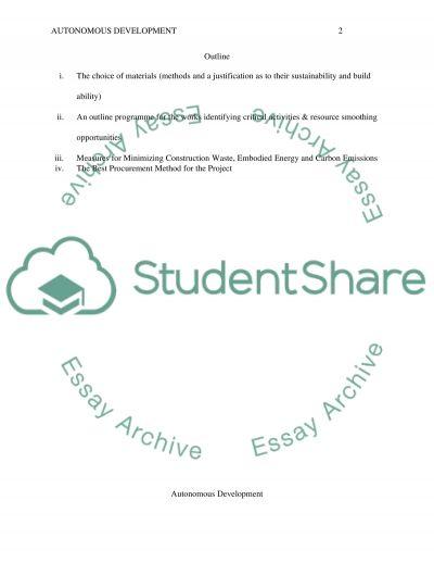 Autonomous Development Essay essay example