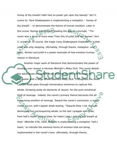 The Power Of Emotion In Regards To Two Works Of Literature William Essay