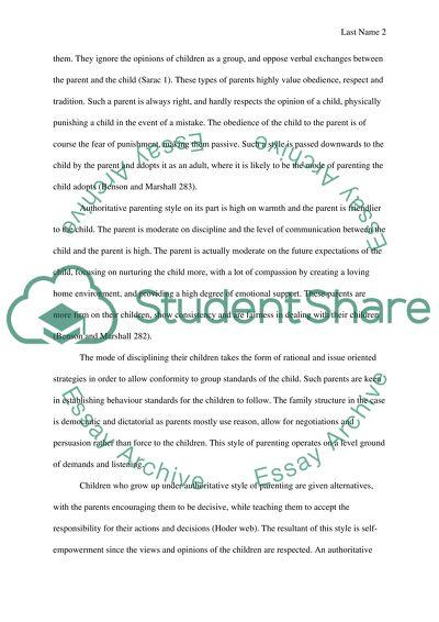 Research essay - child development ( parenting style )