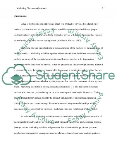 Marketing discusion questions essay example