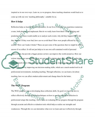 Stages of Reflection Human Development Essay example