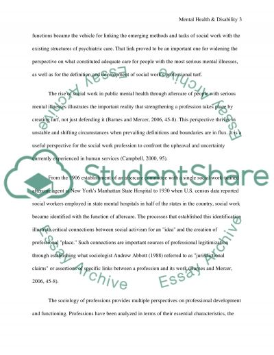 Mental Health and Disability essay example