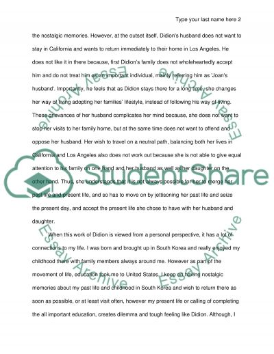 Analysis and response assignment of joan didions on going home essay example
