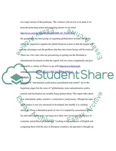 youth violence essay example  topics and well written essays     extract of sample youth violence