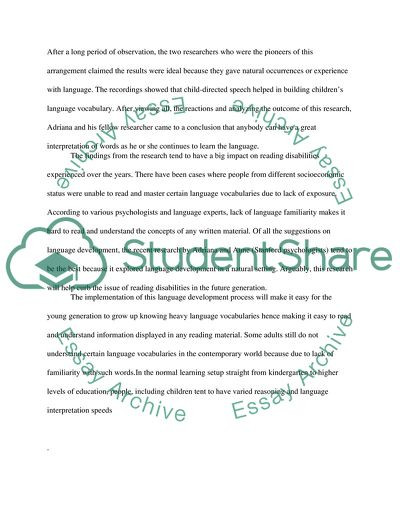 Language Development and Reading Disabilities