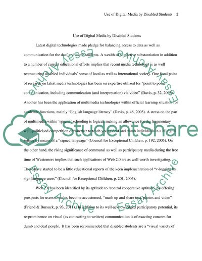 Use of Digital Media by disabled student for education