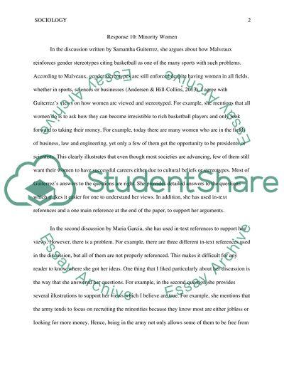 Minority in women - classmate response 10