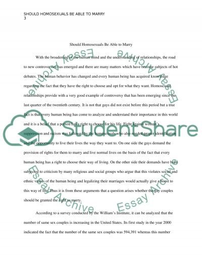 Should homosexuals be able to marry essay example
