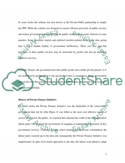 The Private Finance Initiative essay example