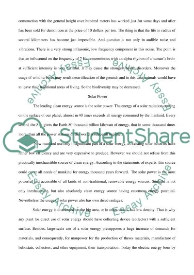 Sources of Clean Energy essay example