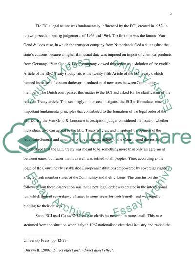 Legal Order of European Community essay example