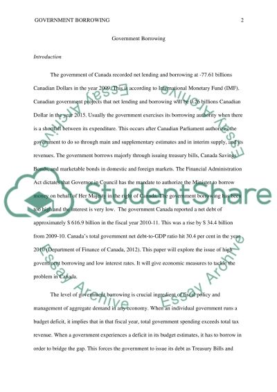 Essay on Government Borrowing Essay example