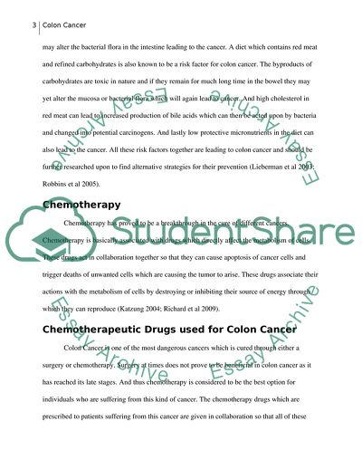 Therapeutics Of Colon Cancer Coursework Example Topics And Well Written Essays 1500 Words