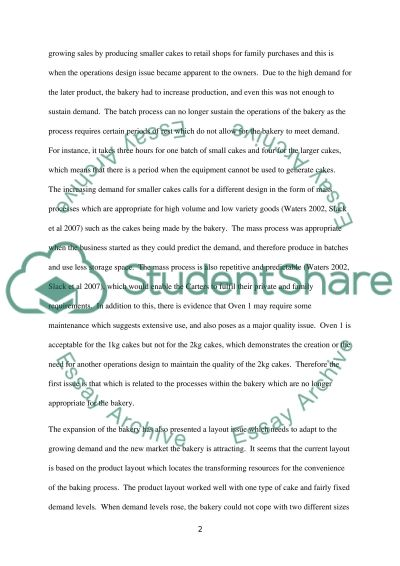 Operations Management Case Study: Carter's Bakery essay example