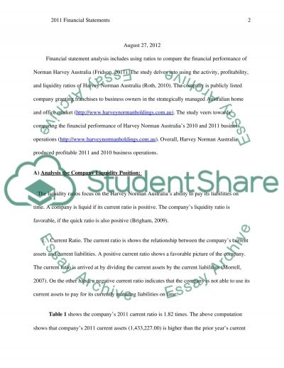 Financial Statements for Harvey Norman Australia essay example