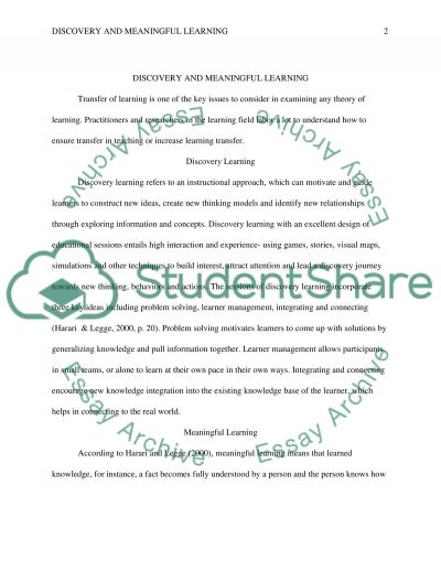Discovery and Meaningful Learning essay example