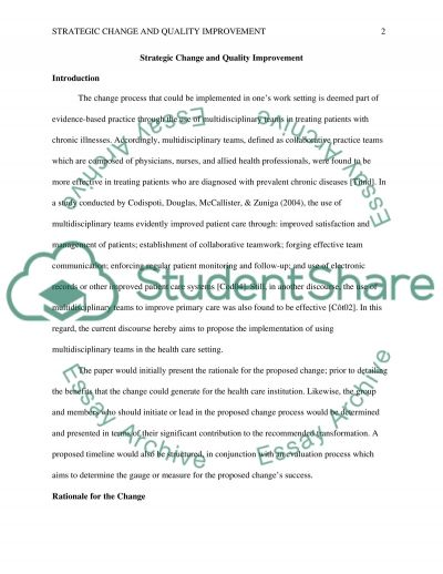 Strategic change and quality improvement essay example