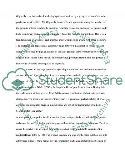 The various forms of market structure essay example