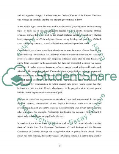 Canon Law & 8th Amendment essay example