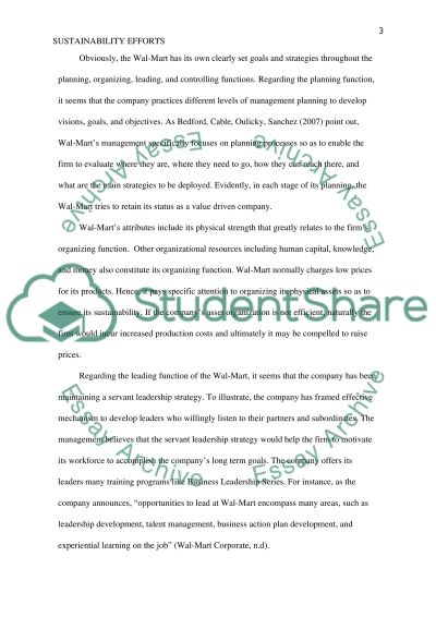 Sustainability Efforts in Wal-Mart essay example