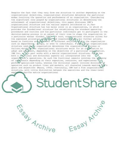 Organizational Structure Paper