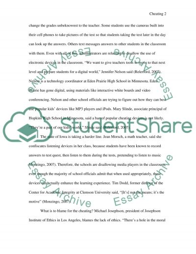 Using technology to cheat in classrooms essay example