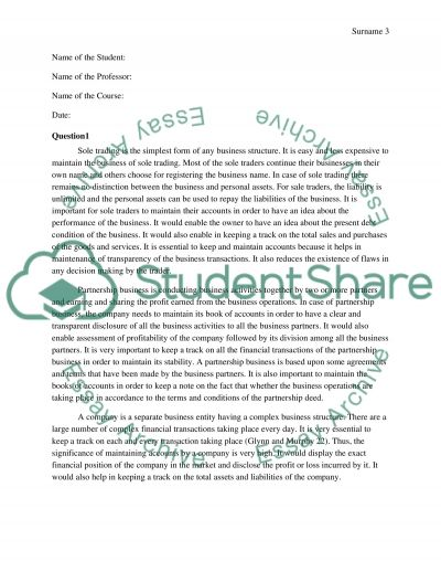 Financial aspects of business an overiew essay example