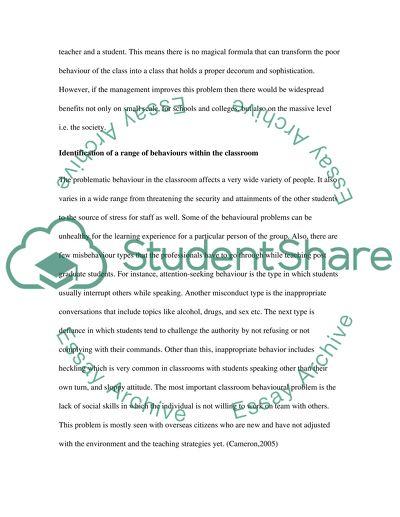 Managing Behaviour in the Classroom
