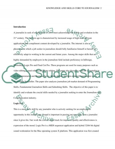 Knowledge and Skills Core to Journalism Essay example
