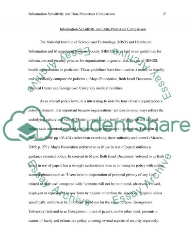 Information sensitivity and protection of data essay example