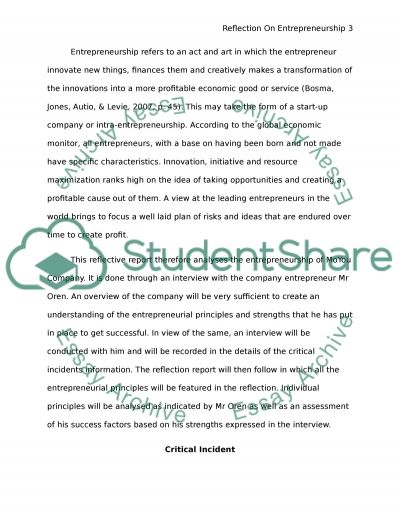 reflective essay on entrepreneurship Free essay: entrepreneurship reflection essay entrepreneurship reflection  essay entrepreneurs are constantly trying to improve a procedure.