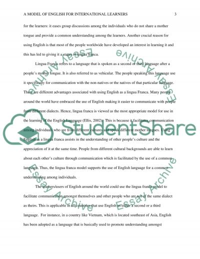 A Model of English for International Learners essay example