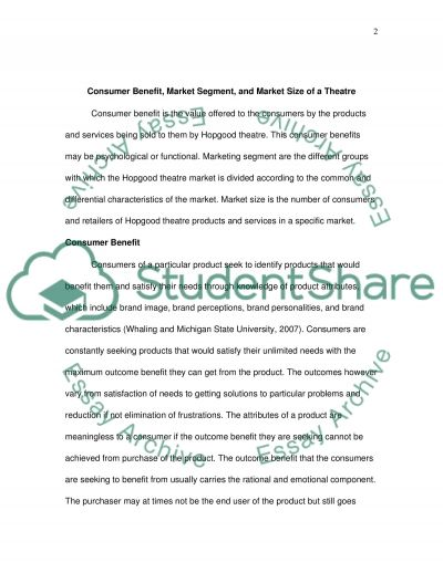 Define consumer benefit, market segment and market size of a theatre (for a real case) Case Study example