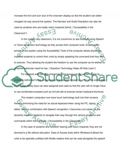 PC Accessibility Tools and Its Various Classroom Use essay example
