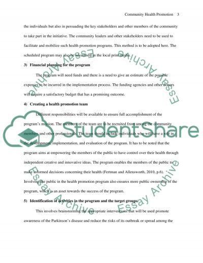 Community Heath Promotion essay example