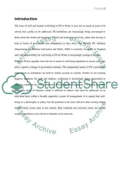 Teaching Staff and Students Well-being essay example